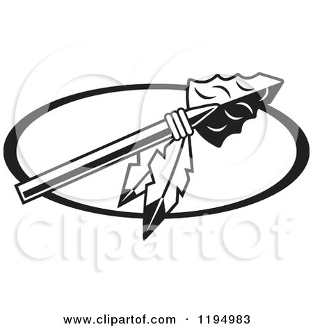 Black and White Arrowhead with Feathers for Warriors Indians Chiefs Scouts Redskins or Braves Logo Posters, Art Prints