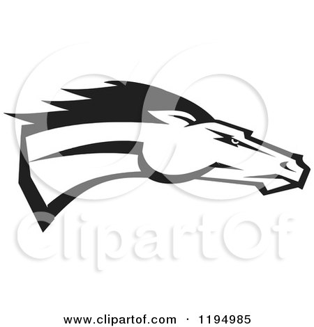Clipart of a Black and White Running Bronco or Mustang - Royalty Free Vector Illustration by Johnny Sajem