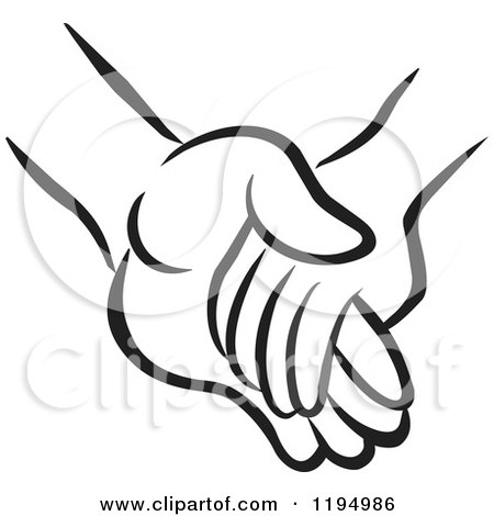 Clipart of a Black and White Childs Hand Holding an Adults Hand - Royalty Free Vector Illustration by Johnny Sajem