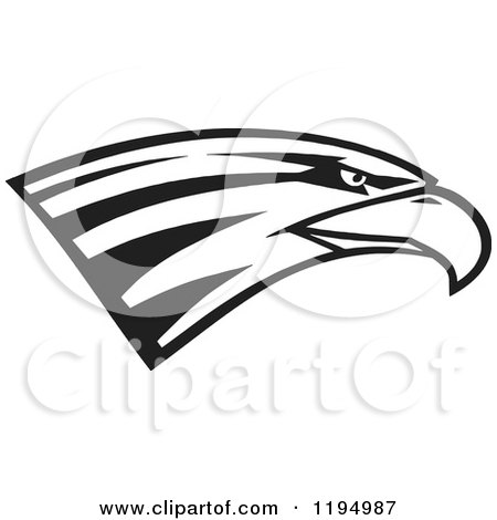 Clipart of a Black and White Eagle Head - Royalty Free Vector Illustration by Johnny Sajem