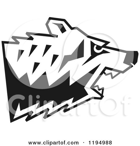 Clipart of a Black and White Growling Bear Head in Profile - Royalty Free Vector Illustration by Johnny Sajem