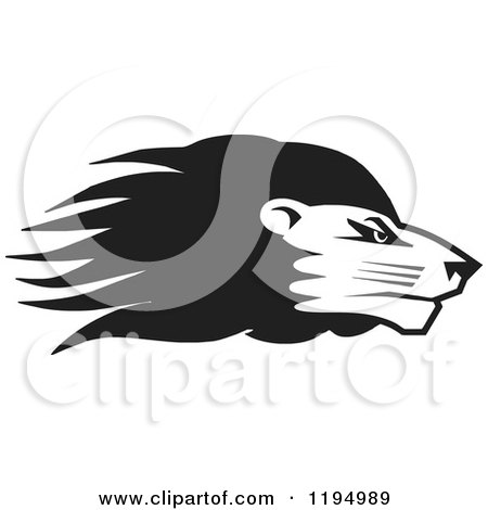Clipart of a Black and White Lion Head - Royalty Free Vector Illustration by Johnny Sajem