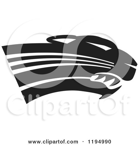Clipart of a Black and White Panther Cougar or Jaguar Mascot Head - Royalty Free Vector Illustration by Johnny Sajem