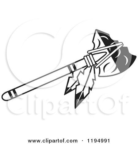 Clipart of a Black and White Tomahawk with Feathers - Royalty Free Vector Illustration by Johnny Sajem