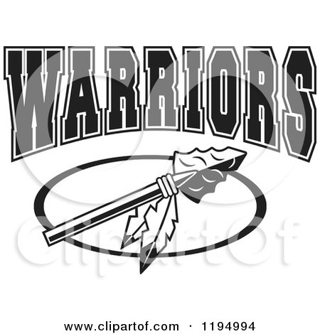 Clipart of a Black and White Arrowhead with Feathers and WARRIORS Team Text - Royalty Free Vector Illustration by Johnny Sajem