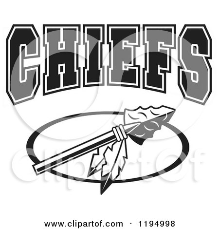 Clipart of a Black and White Arrowhead with Feathers and CHIEFS Team Text - Royalty Free Vector Illustration by Johnny Sajem