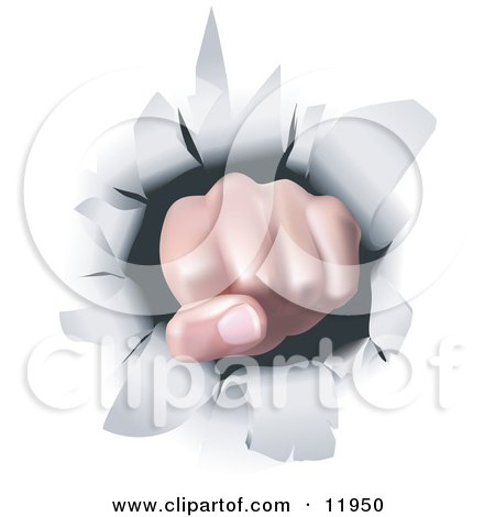 Human Hand Balled Into a Fist, Punching Through a Wall Clipart Illustration by AtStockIllustration
