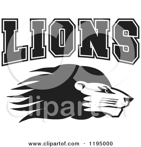Clipart of a Black and White Lion Head with LIONS Team Text - Royalty Free Vector Illustration by Johnny Sajem