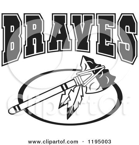 Black and White Tomahawk with BRAVES Team Text Posters, Art Prints