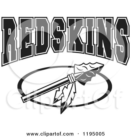 Clipart of a Black and White Arrowhead with Feathers and REDSKINS Team Text - Royalty Free Vector Illustration by Johnny Sajem