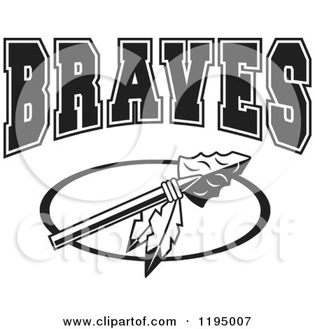 Clipart of a Black and White Arrowhead with Feathers and BRAVES Team Text - Royalty Free Vector Illustration by Johnny Sajem