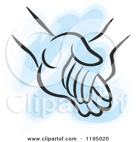 Clipart of a Childs Hand Holding an Adults Hand over Blue - Royalty Free Vector Illustration by Johnny Sajem