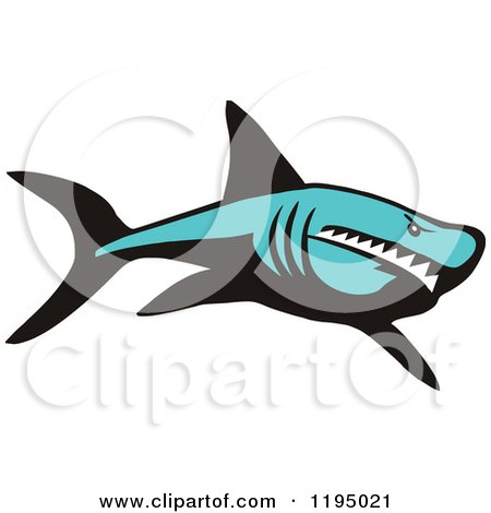 Clipart of a Tough Blue Shark - Royalty Free Vector Illustration by Johnny Sajem