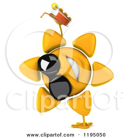 Clipart of a 3d Sun Mascot Wearing Shades and Cartwheeling with Iced Tea - Royalty Free CGI Illustration by Julos