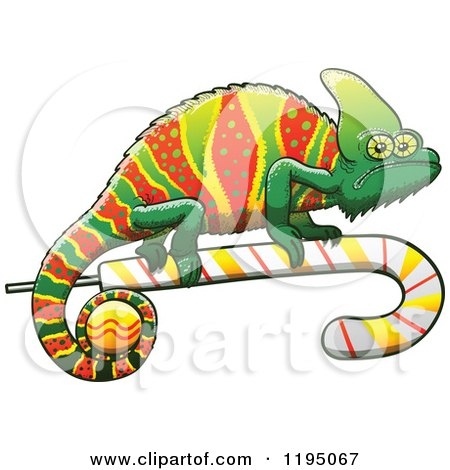 Cartoon of a Christmas Chameleon Lizard on a Candy Cane - Royalty Free Vector Clipart by Zooco