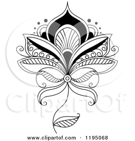 Clipart of a Black and White Henna Flower - Royalty Free Vector Illustration by Vector Tradition SM