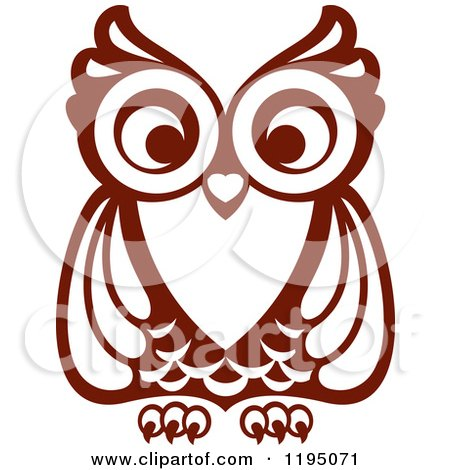 Clipart Of A Brown Owl 7 Royalty Free Vector Illustration