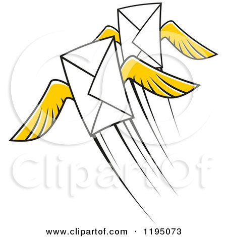 Clipart of Envelopes with Yellow Wings - Royalty Free Vector Illustration by Vector Tradition SM