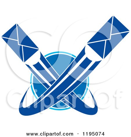 Clipart of Blue Envelopes Shooting Around a Globe - Royalty Free Vector Illustration by Vector Tradition SM
