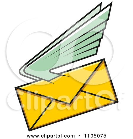 Clipart of a Yellow Envelope with Green Wings - Royalty Free Vector Illustration by Vector Tradition SM