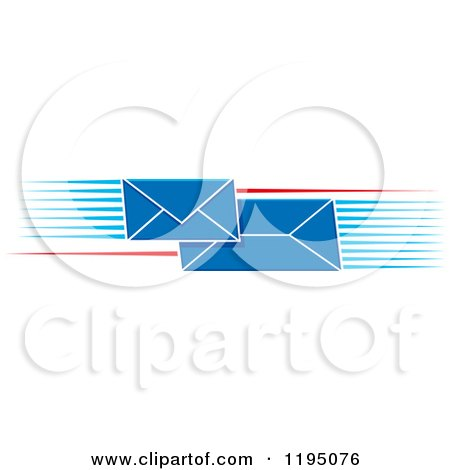 Clipart of Blue Envelopes with Speed Lines - Royalty Free Vector Illustration by Vector Tradition SM