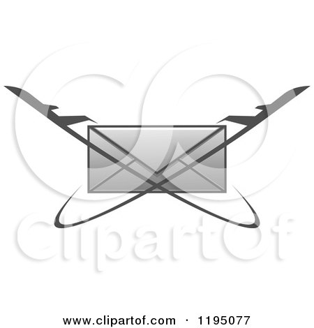 Clipart of a Gray Envelope with Jets - Royalty Free Vector Illustration by Vector Tradition SM