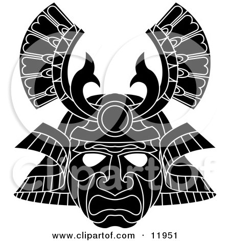Asian Samurai Warrior Mask Clipart Illustration by AtStockIllustration