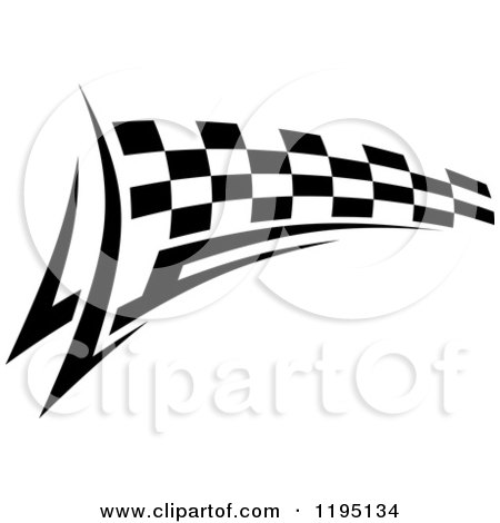 Clipart of a Black and White Checkered Tribal Racing Flag 4 ...