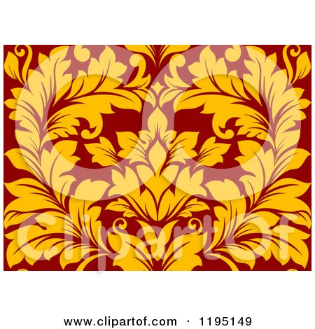 Clipart of a Red and Yellow Seamless Damask Pattern - Royalty Free Vector Illustration by Vector Tradition SM
