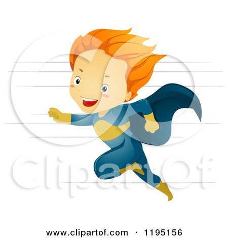Cartoon of a Running Red Haired Super Hero Boy - Royalty Free Vector Clipart by BNP Design Studio