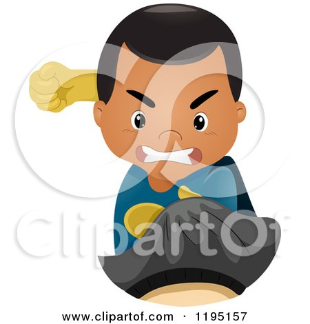 Cartoon of a Fighting Super Hero Boy Punching - Royalty Free Vector Clipart by BNP Design Studio