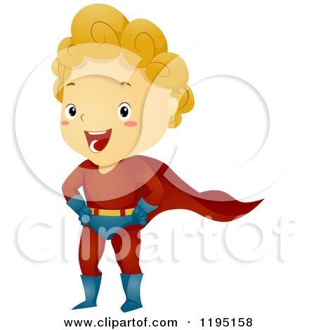 Cartoon of a Happy Blond Super Hero Boy - Royalty Free Vector Clipart by BNP Design Studio