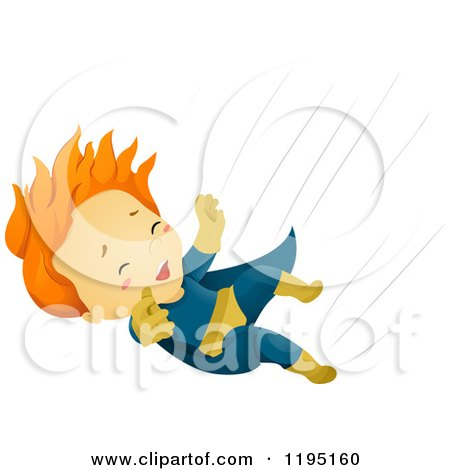 Cartoon of a Red Haired Falling Super Hero Boy - Royalty Free Vector Clipart by BNP Design Studio