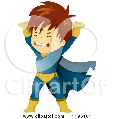 Cartoon of a Brunette Super Hero Boy Lifting - Royalty Free Vector Clipart by BNP Design Studio