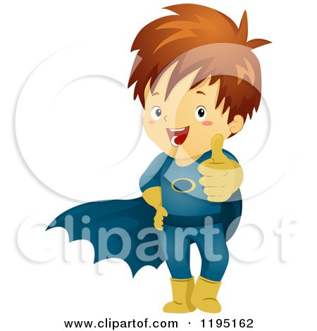 Cartoon of a Happy Brunette Super Hero Boy Holding a Thumb up - Royalty Free Vector Clipart by BNP Design Studio