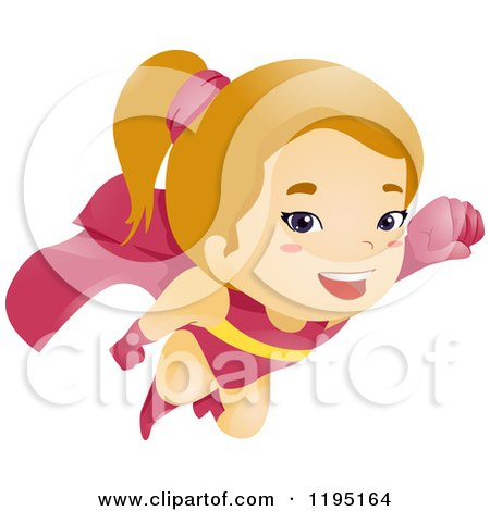 Cartoon of a Super Hero Girl Flying - Royalty Free Vector Clipart by BNP Design Studio