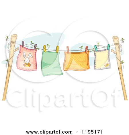 Cartoon of Colorful Baby Blankets Air Drying on a Clothesline - Royalty Free Vector Clipart by BNP Design Studio