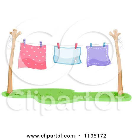 Cartoon of Colorful Blankets Air Drying on a Clothesline - Royalty Free Vector Clipart by BNP Design Studio