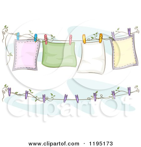Cartoon of Blankets Air Drying on a Clothesline - Royalty Free Vector Clipart by BNP Design Studio