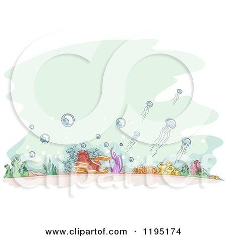 Cartoon of Sketched Ocean Floor over Green - Royalty Free Vector Clipart by BNP Design Studio