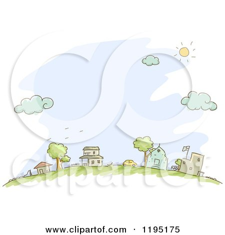 Cartoon of Sketched Neighboring Houses over Blue - Royalty Free Vector Clipart by BNP Design Studio