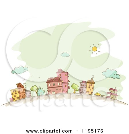 Cartoon of Sketched Neighboring Buildings over Green - Royalty Free Vector Clipart by BNP Design Studio
