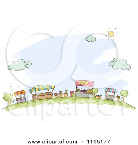 Cartoon of Sketched Market Kiosks Booths and Vendor Stands over Blue - Royalty Free Vector Clipart by BNP Design Studio