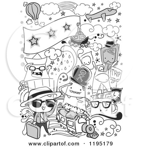 Cartoon of Black and White Travel Doodles - Royalty Free Vector Clipart by BNP Design Studio