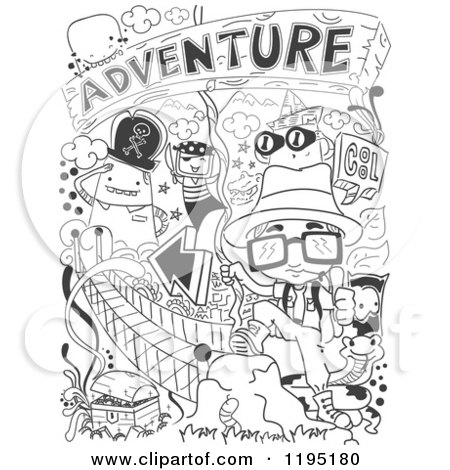Cartoon of Black and White Adventure Doodles - Royalty Free Vector Clipart by BNP Design Studio