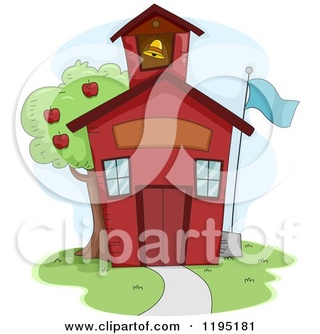Cartoon of a Cute Red School House with an Apple Tree - Royalty Free Vector Clipart by BNP Design Studio