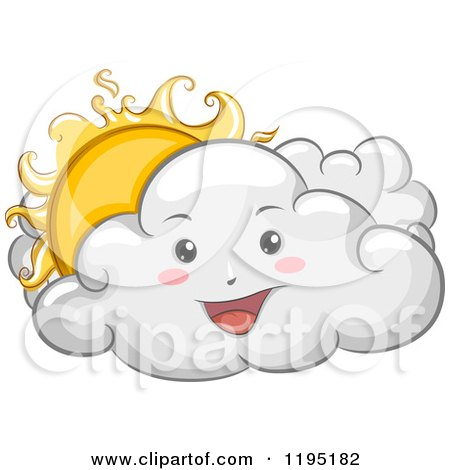 Cartoon of a Happy Cloud with a Peeking Sun - Royalty Free Vector Clipart by BNP Design Studio