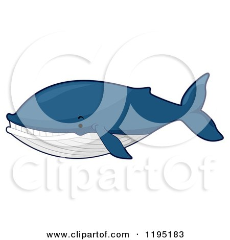 Cartoon of a Cute Blue Whale - Royalty Free Vector Clipart by BNP Design Studio