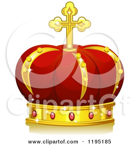 Cartoon of a Red and Gold Royal Crown - Royalty Free Vector Clipart by BNP Design Studio