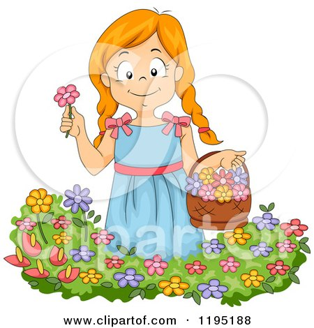 Cartoon of a Happy Red Haired Girl Picking Flowers in a Garden - Royalty Free Vector Clipart by BNP Design Studio